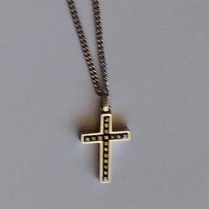 Swarovski Black Chrystal Cross Pendant with Chain